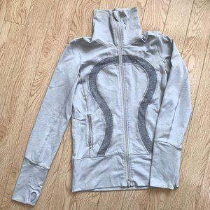 Lululemon In Stride Jacket Tan Grey Luon 4 Zip Up